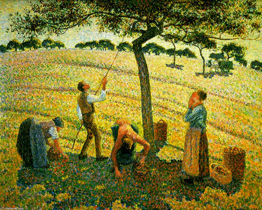 Apple Picking at Eragny-Sur-Epte, 1888 by Camille Pissarro