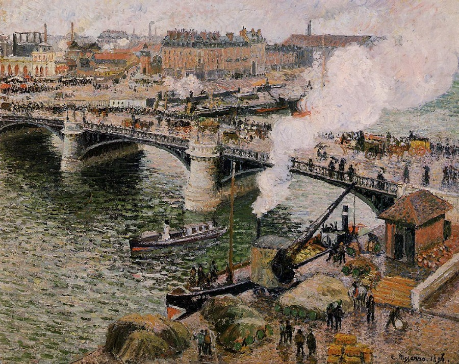 Pont Boieldieu In Rouen Rainy Weather 1896 By Camille