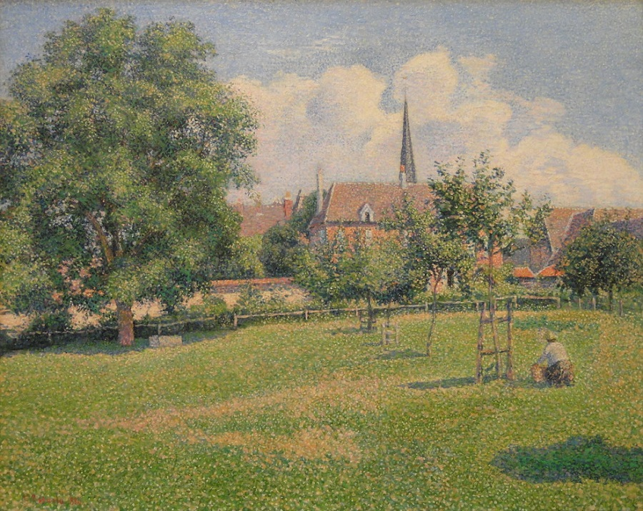 The House of the Deaf Woman and the Belfry at Eragny, 1886 by Camille Pissarro