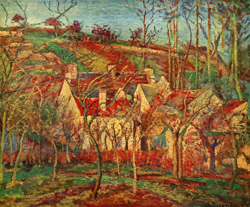 The red roofs a corner of a village winter effect 1877 by camille